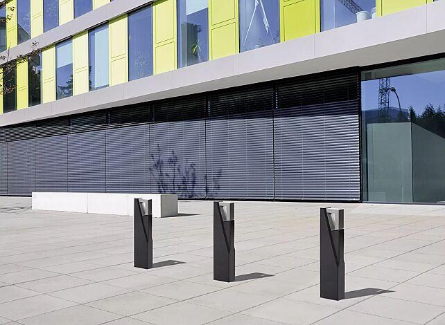 Poller INTAL, Höhe 850 mm, Beton in graphit, Stahlteile in RAL 7016 anthrazitgrau
