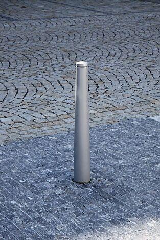 Poller ISAC ohne Stadtwappen, zum Aufdübeln, in RAL 9006 weißaluminium