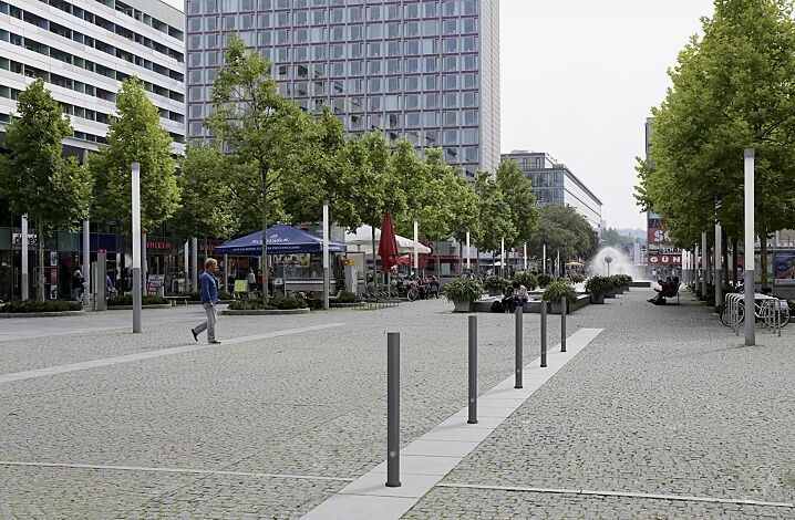 Poller MOSTOLES, herausnehmbar aus Bodenhülse, mit Dreikantschloss, in DB 703 eisenglimmer