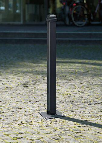 Poller NAVARRA, zum Aufdübeln mit Bodenplatte, in RAL 7016 anthrazitgrau