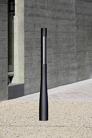 Poller ORAPOST mit Edelstahl-Element, in RAL 7021 schwarzgrau
