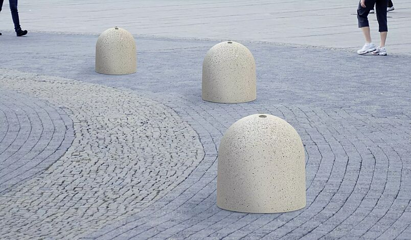 "<div id=""container"" class=""container"">Poller TITANO aus Beton sandgestrahlt, in Granitoptik weiß</div>"