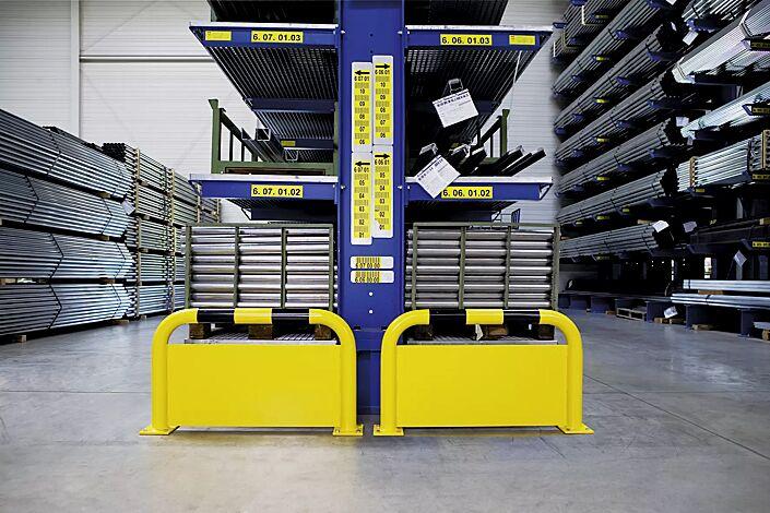 Rammschutzbügel KITEE mit Unterfahrschutz für den Innenbereich, gelb kunststoffbeschichtet mit schwarzen Signalstreifen, H x B: 600 x 1000 mm