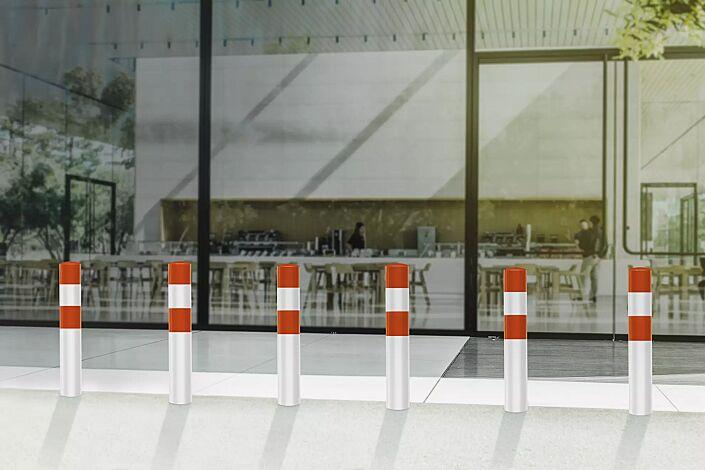 Rammschutzpoller BESKYT zum Einbetonieren, Ø 194 mm, rot-weiß kunststoffbeschichtet