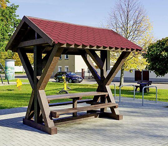 """<div id=""""container"""" class=""""container"""">Rastplatzüberdachung BOTHY, Dachbreite x Dachtiefe 2800 mm x 2565 mm, inklusive Sitzbank und Tisch</div>"""