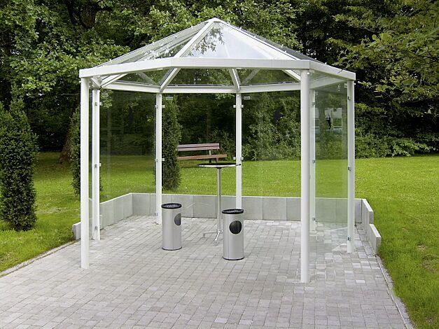 Einzel-Pavillon AQUA Dachlänge x Dachtiefe 3300 x 3300 mm, Stahlkonstruktion feuerverzinkt und pulverbeschichtet inkl. 6 Seitenwänden ESG Klarglas, Dacheindeckung VSG Klarglas