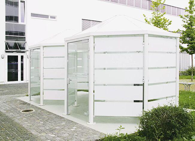 2 Stück Einzel-Pavillon AQUA mit Blechdach und Tür, Seitenwände mit Siebdruckstreifen