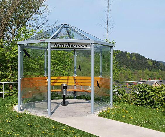Einzel-Pavillon AQUA, Dacheindeckung VSG Klarglas, mit 7 Seitenwänden, ESG-Scheiben mit Siebdruckstreifen, Stahlkonstruktion in DB 703 eisenglimmer