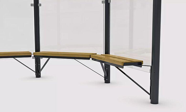 Sitzbank mit Holzbelattung für Modell AQUARIUS