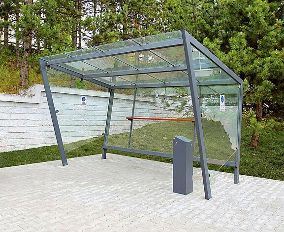 Raucherunterstand EDGE  Dachbreite x Dachtiefe 3900 mm x 2500 mm, inkl. Rückwand, Seitenwände ESG, Klarglas sowie Ablagebord, Dacheindeckung VSG, Klarglas, Stahlkonstruktion in RAL 7016 anthrazitgrau