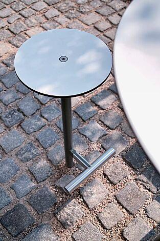Barhocker BISTROT mit HPL-Auflage in weiß, Stahlteile in RAL 9007 graualuminium