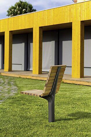 Sitz VLTAU mit Rückenlehne, mit Robinienholzbelattung, Stahlteile in DB 703 eisenglimmer