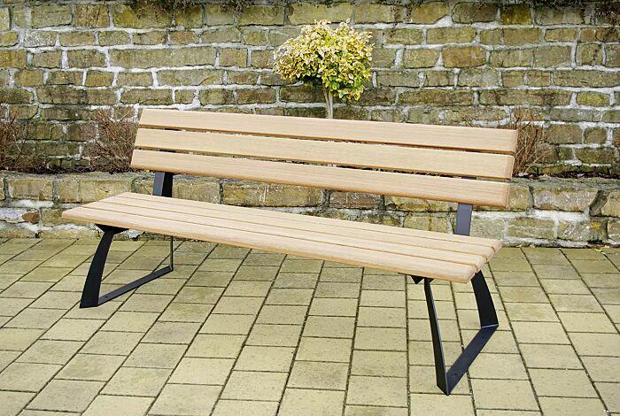 Sitzbank ADAM mit Rückenlehne, mit Fichtenholzbelattung, Stahlteile in RAL 7021 schwarzgrau