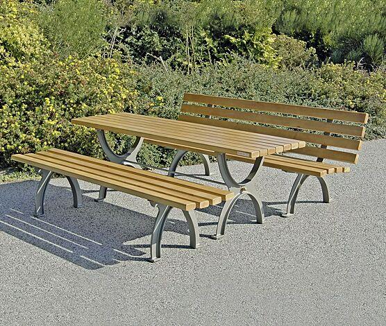 Bank-Tisch-Kombination ALBAS bestehend aus Sitzbank mit und ohne Rückenlehne und einem Tisch, mit Escheholzbelattung