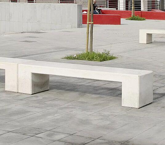 """<div id=""""container"""" class=""""container"""">Sitzbänke ALTHEA ohne Rückenlehne, Beton weiß</div>"""