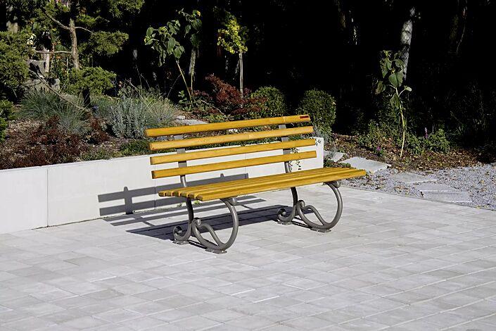Sitzbank ANCONA mit Rückenlehne, mit Holzbelattung