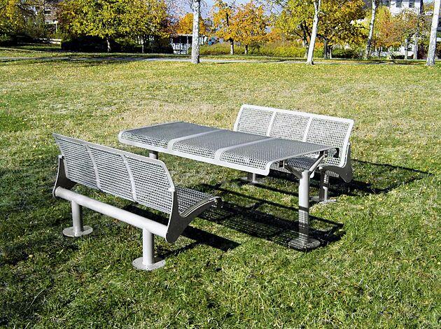Bank-Tisch-Kombination ASTI, bestehend aus Sitzbänken und Tisch zum Aufdübeln, in RAL 9007 graualuminium