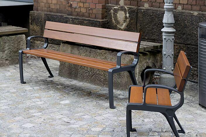 Sitzbank und Sitz BASIC, Stahlteile in RAL 7016 anthrazitgrau