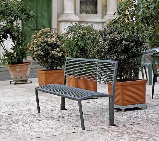 Sitzbank CAMILLA mit Rückenlehne, in RAL 7016 anthrazitgrau