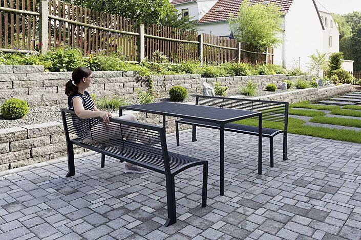 Sitzbank CAMILLA mit Rückenlehne und Tisch CAMILLA, in RAL 7016 anthrazitgrau