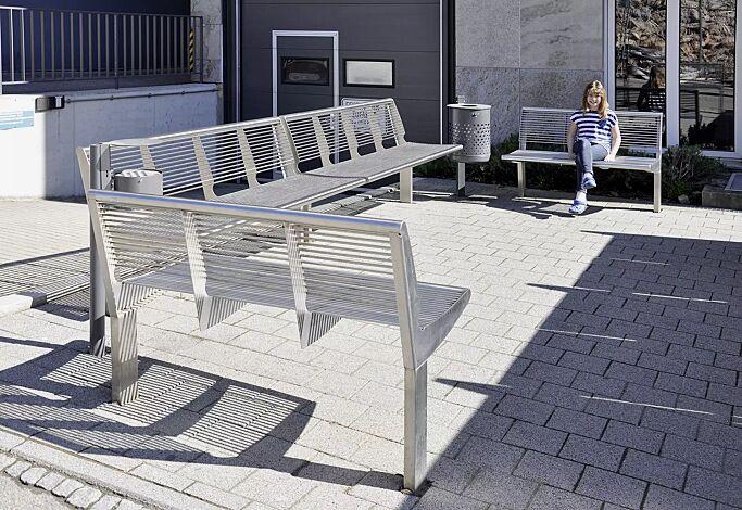 Sitzbank CARPI mit Rückenlehne, Breite 1200 mm und 1800 mm