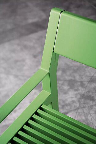 Sitzbank CASTEO mit Rückenlehne und Armlehnen, in RAL 6018 gelbgrün