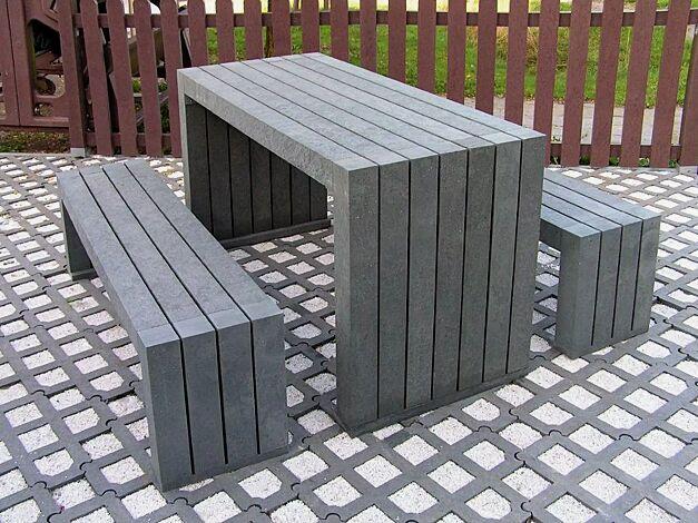xKombinationsvorschlag: Bank-Tisch-Kombination CERMES aus Recyclingkunststoff in grau, bestehend aus einem Tisch und zwei Sitzbänken