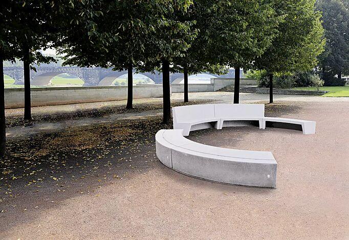 Sitzbank CIRCO bestehend aus 3 Elementen ohne Rückenlehne und 2 Elementen mit Rückenlehne, in Farbe weiß