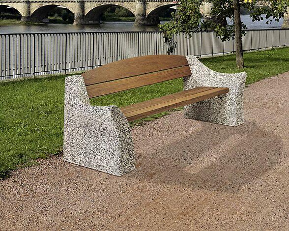 Sitzbank DALIA, mit Seitenteilen aus Sandbeton, Farbe sand