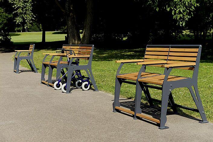 Sitzbank EASY GO-SENIOR, 1-Sitzer, 2-Sitzer + Rollatorstellplatz, 2-Sitzer, Stahlteile in RAL 7022 umbragrau