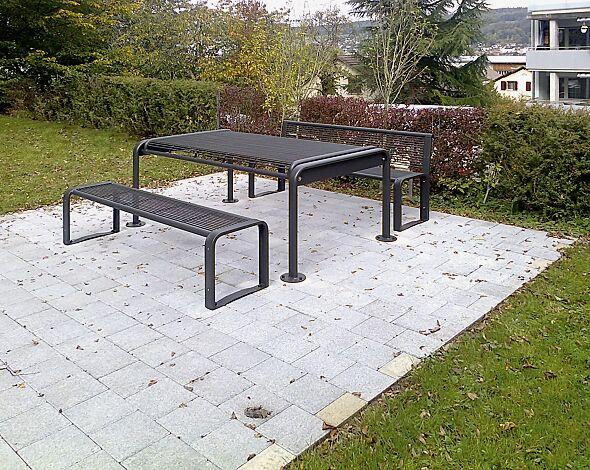 Bank- Tisch- Kombination ETHOS bestehend aus einem Tisch, Sitzbank mit und ohne Rückenlehne, in RAL 7016 anthrazitgrau