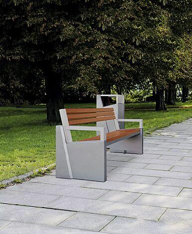 Sitzbank INTAL mit Rückenlehne, Stahlteile in RAL 9007 graualuminium, Beton beschichtet in grau