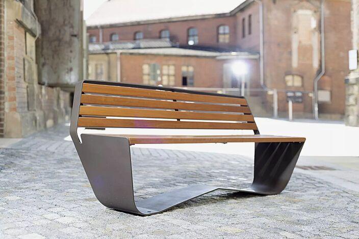 Sitzbank KARMA mit Rückenlehne, Stahlteile in DB 703 eisenglimmer