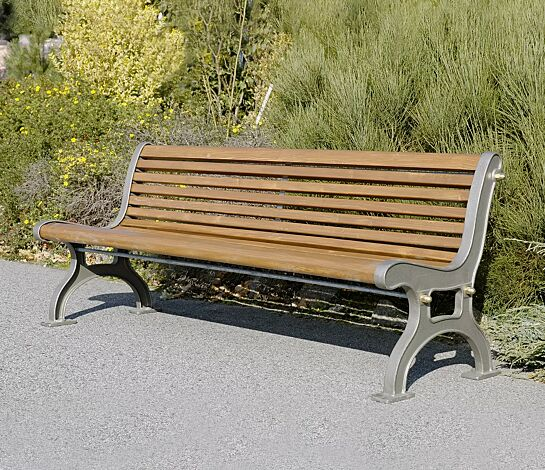 Sitzbank LARA mit Rückenlehne, mit Fichtenholzbelattung