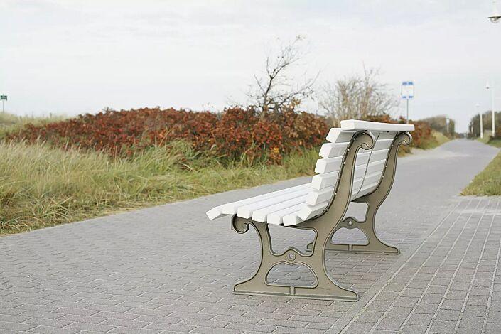 Sitzbank LAZIO mit weiß lackierter Weichholzbelattung