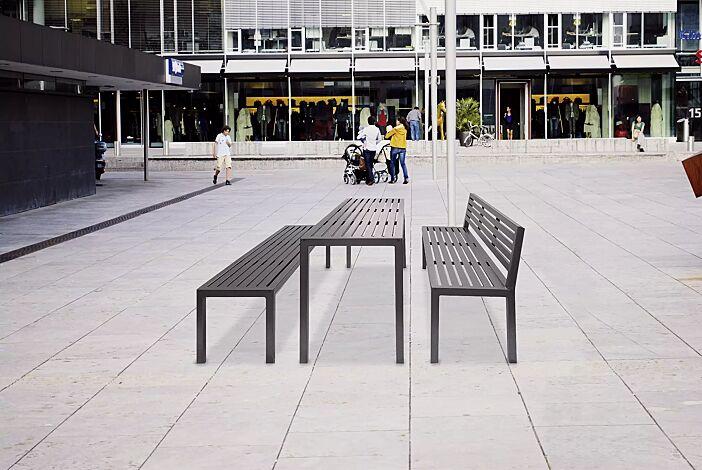 Bank-Tisch-Kombination LIGURIA mit Stahlauflage, bestehend aus einem Tisch, Sitzbank mit und ohne Rückenlehne, in DB 703 eisenglimmer