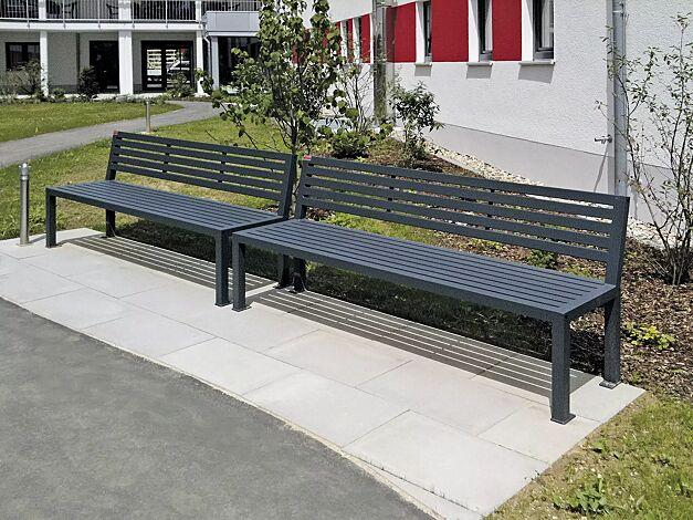 Sitzbank LIGURIA mit Rückenlehne, zum Aufdübeln, mit Stahlauflage, in RAL 7016 anthrazitgrau