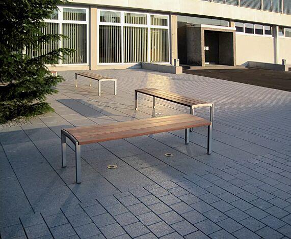 Sitzbank MIELA ohne Rückenlehne, mit Jatobaholzbelattung