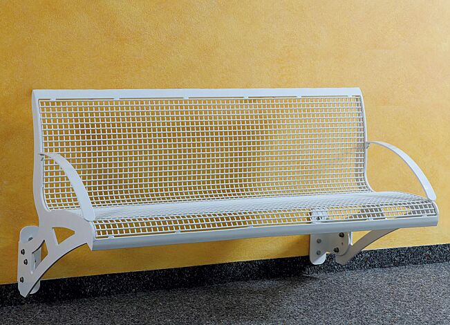 Sitzbank NOVARA zur Wandbefestigung, in RAL 9006 weißaluminium