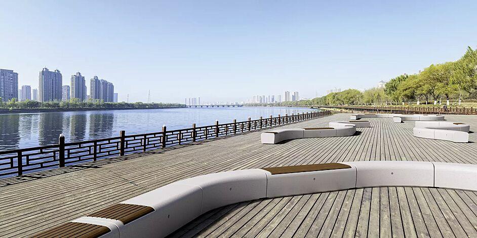 Sitzbänke ONDA aus Beton, gerade oder gebogen, wahlweise mit Okouméholzbelattung (durchgehende Holzauflage auf Anfrage), in Granitoptik weiss<br>