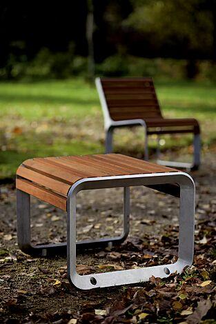 Sitzbank PORTIQOA ohne Rückenlehne, mit Jatobaholzbelattung
