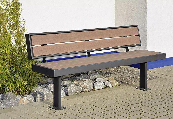 Sitzbank PRASEM mit Rückenlehne, Stahlteile in DB 703 eisenglimmer<br>