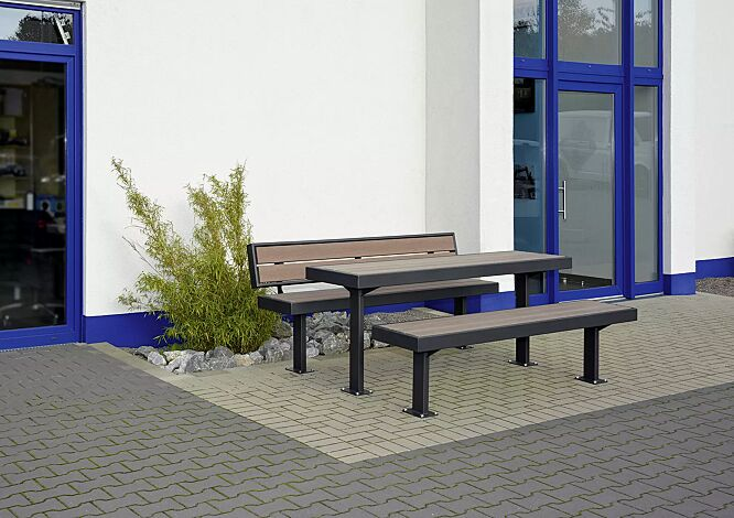 Sitzbänke und Tisch PRASEM, mit WPC-Holzbelattung, Stahlteile in RAL 7016 anthrazitgrau
