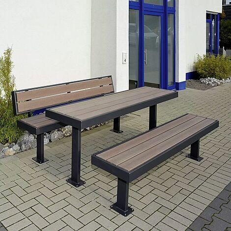 """<div id=""""container"""" class=""""container"""">Sitzbänke und Tisch PRASEM, mit WPC-Holzbelattung, Stahlteile in RAL 7016 anthrazitgrau</div>"""