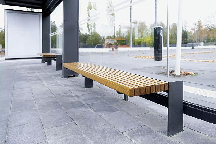Sitzbank PURE, 3-Sitzer mit Holzauflage, Stahlkonstruktion in DB 703 eisenglimmer