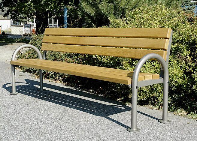 Sitzbank SAN REMO mit Holzbelattung, mit Rückenlehne und Armlehnen