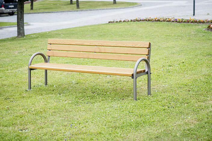Sitzbank SAN REMO mit Rückenlehne, mit Escheholzbelattung