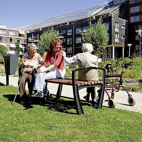 Sitzbank SENIOR ohne Rückenlehne 1-Sitzer + 2-Sitzer, mit 3 Armlehnen