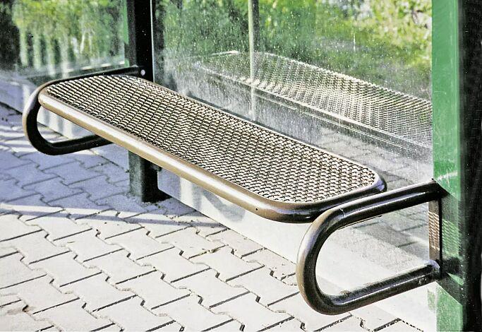 Sitzbank ohne Rückenlehne, Modell 2, Sitzfläche aus Drahtgitter, zum Anschrauben, in RAL 8014 sepiabraun