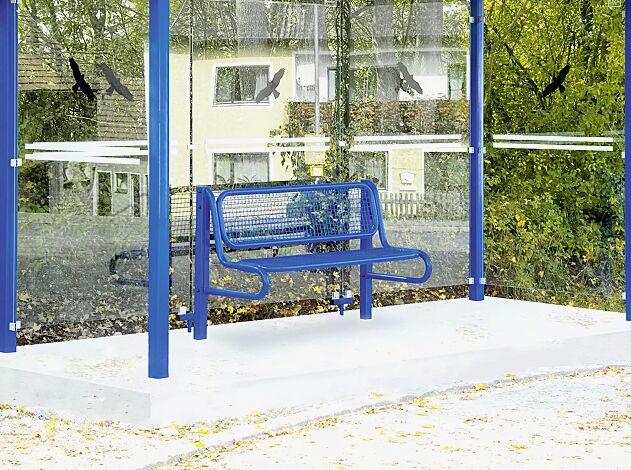 Preisbeispiel: Sitzbank mit Rückenlehne, Modell 5, Sitzfläche aus Drahtgitter, mit 2 Stützen, zum Einbetonieren, in RAL 5017 verkehrsblau